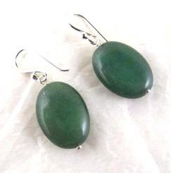 Stone Sterling Silver Drop Earrings, Aventurine