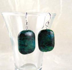 Stone Sterling Silver Drop Earrings, Chrysocolla