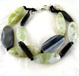 Double Strand Stone Sterling Silver Bracelet, Sardonyx Combo