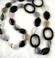 Oval Carved Stone Strand Necklace, Black Agate Combo