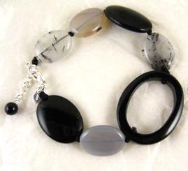 Oval Carved Stone Sterling Silver Bracelet, Black Agate Combo