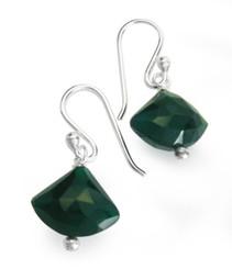 Sterling Silver Stone Drop Earrings, Green Onyx