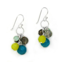 Stone Cluster Beads on Circle Link Sterling Silver Drop Earrings, Blue Quartz Combo