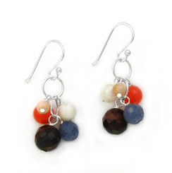 Stone Cluster Beads on Circle Link Sterling Silver Drop Earrings, Tiger's Eye Combo