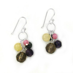 Stone Cluster Beads on Circle Link Sterling Silver Drop Earrings, Smoky Combo