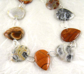 Teardrop Stones Link Sterling Silver Necklace, Crazy Lace Agate