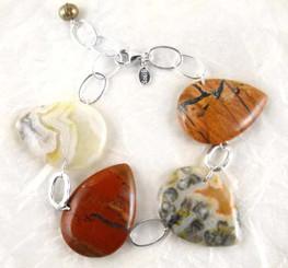 Teardrop Stones Link Sterling Silver Bracelet, Crazy Lace Agate