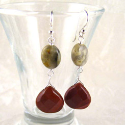 Teardrop Stones Link Sterling Silver Drop Earrings, Mookaite and Agate