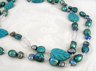 Double Strand Stone Carved Leave Sterling Silver Necklace, Blue Howlite