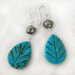 Carved Leave Stone Sterling Silver Drop Earrings, Blue Howlite