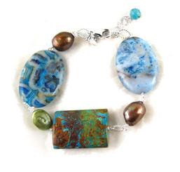 Stones and Pearl Link Sterling Silver Bracelet, Blue Calsilica Jasper