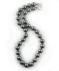 Knotted Simulated Pearls 18-19 Inch Toggle Necklace, Black