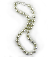 Knotted Simulated Pearls 18-19 Inch Toggle Necklace, Gray