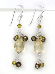 Stone and Pearl Sterling Silver Drop Earrings, Citrine