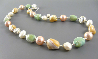 Sterling Silver Brushed Finish Beads Cultured and Simulated Pearl and Shell Nugget Strand Necklace