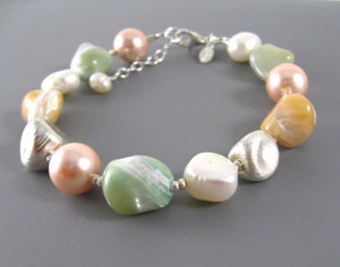 Sterling Silver Brushed Finish Beads Cultured and Simulated Pearl and Shell Nugget Strand Bracelet