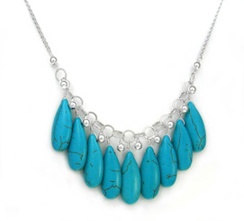 Long Teardrops of Blue Howlite Silver Balls Necklace
