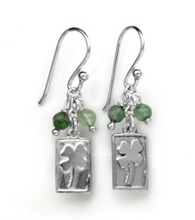 Sterling Silver Four Leaf Clover Charm Stone Top Cluster Drop Earrings, Aventurine