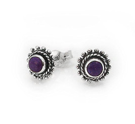 """Sterling Silver Round Stone Inlay """"Elle"""" Everyday Stud Post Earrings, Sugilite"""