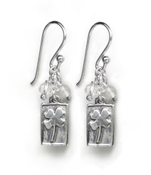 Sterling Silver Four Leaf Clover Charm Stone Top Cluster Drop Earrings, Clear Quartz