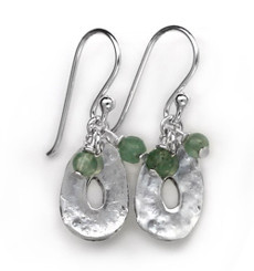 Sterling Silver Disc Charm and Stone Top Cluster Drop Earrings, Aventurine