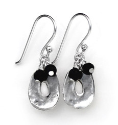 Sterling Silver Disc Charm and Stone Top Cluster Drop Earrings, Onyx