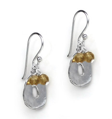 Sterling Silver Disc Charm and Stone Top Cluster Drop Earrings, Citrine