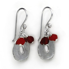 Sterling Silver Disc Charm and Stone Top Cluster Drop Earrings, Carnelian