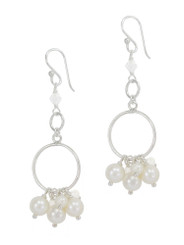 Circle Links Wire-wrapped Pearl and Crystal Earrings