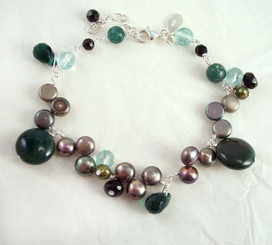 Stone and Pearl Sterling Silver Link Bracelet