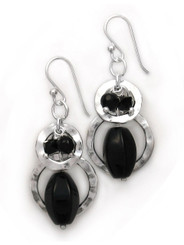 Sterling silver Two Circle Charms Stone Beads Drop Earrings, Black