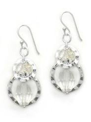 Sterling silver Two Circle Charms Stone Beads Drop Earrings, Clear