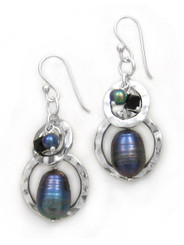 Sterling silver Two Circle Charms Stone Beads Drop Earrings, Peacock Pearl