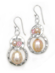 Sterling silver Two Circle Charms Stone Beads Drop Earrings, Pink Pearl