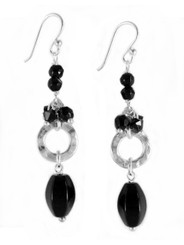 Sterling Silver Circle Charm Bead Accent and Stone Drop Earrings, Black