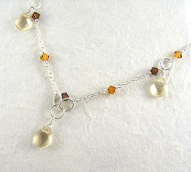 Sterling Silver Chain Stone Drop Earrings, Citrine