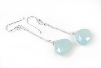 Sterling Silver Chain Stone Drop Earrings, Blue Chalcedony