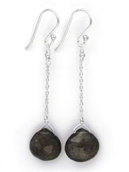 Sterling Silver Chain Stone Drop Earrings, Labradorite
