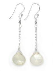 Sterling Silver Chain Stone Drop Earrings, Moonstone