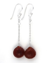 Sterling Silver Chain Stone Drop Earrings, Red Chalcedony