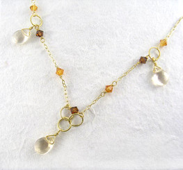 Gold Plated Sterling Silver Bead Chain Necklace, Citrine