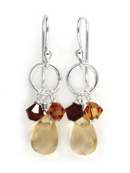 Sterling Silver Circle Charm Bead Stone Drop Earrings, Citrine