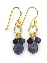 Gold Plated Sterling Silver Circle Charm Bead Stone Drop Earrings, Iolite