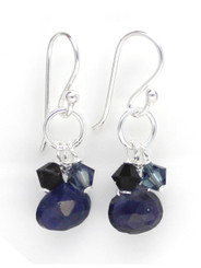 Sterling Silver Circle Charm Bead Stone Drop Earrings, Iolite