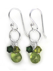 Sterling Silver Circle Charm Bead Stone Drop Earrings, Peridot