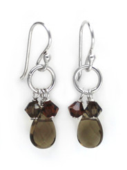 Sterling Silver Circle Charm Bead Stone Drop Earrings, Smoky