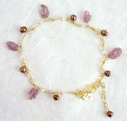 Gold Plated Sterling Silver Leaf Carved Stone Chain Bracelet, Amethyst