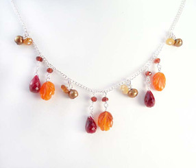 Sterling Silver Leaf Carved Stone Chain Necklace, Carnelian