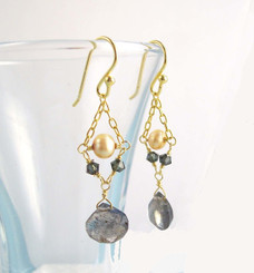 Gold Plated Sterling Silver Bead Chain Stone Drop Earrings, Labradorite