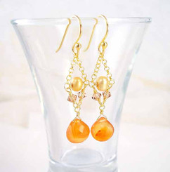 Gold Plated Sterling Silver Bead Chain Stone Drop Earrings, Carnelian